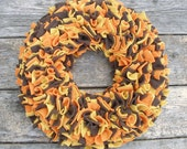 Fall Wreath - Orange Yellow and Brown Wreath - Fleece Wreath - Door Wreath  - Multicolor Wreath - Rag Wreath - Autumn Wreath