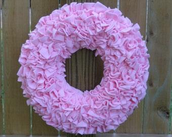 Valentine's Wreath - Pink Wreath - Baby Girl Wreath - Fleece Wreath - Spring Wreath - Baby Shower Decor - Door Wreath - Indoor Wreath