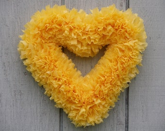 Thanksgiving Wreath - Fall Wreath - Heart Wreath - Yellow Wreath - Outdoor Wreath - Door Wreath - Indoor Outdoor Wreath - Summer Wreath