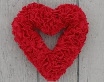Red Heart Wreath - Fleece Wreath - Red Wedding Decor - Door Wreath - Indoor Wreath - Rag Wreath - Red Wedding Wreath - Valentine's Wreath
