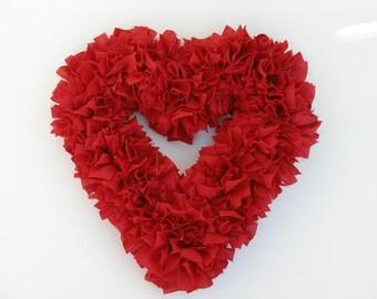 Valentine's Wreath - Red Heart Wreath - Shabby Wreath - Cottage Wreath - Red Wedding Decor - Red Wedding Wreath - Door Wreath - Rag Wreath