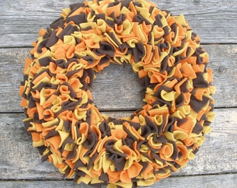 Fall Wreath - Orange Yellow and Brown Wreath - Fleece Wreath - Door Wreath  - Multicolor Wreath - Rag Wreath - Autumn Wreath