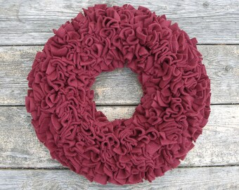 Burgundy Wreath --- Fleece Wreath --- Door Wreath --- Indoor Wreath --- Wine Wreath --- Winter Wreath --- Rag Wreath --- Berry Wreath