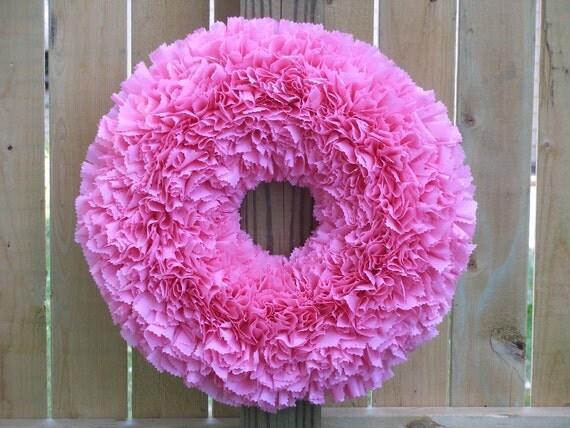 Pink Wreath --- Outdoor Wreath --- Baby Girl Wreath --- Door Wreath --- Indoor Outdoor Wreath --- Baby Shower Decor --- Valentine's Wreath