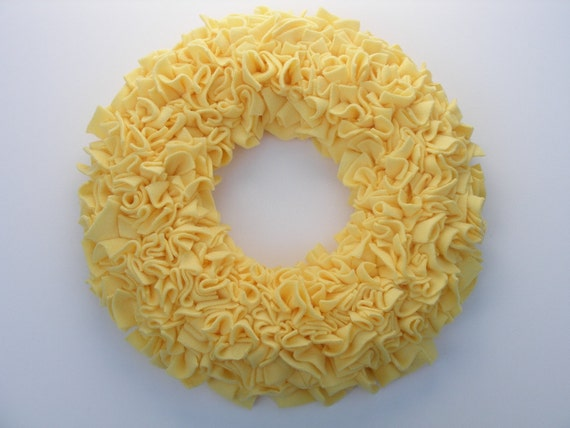 "15"" Handmade Fleece Rag Wreath --- Harvest Yellow"