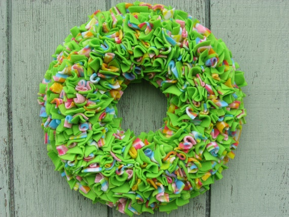 Easter Wreath -- Spring Wreath -- Green Wreath -- Door Wreath -- Indoor Wreath -- Fleece Wreath -- Cottage Wreath -- Rag Wreath