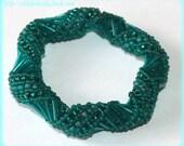 Turquoise Russian spiral bangle wrap around beadwork bracelet cuff bangle seed bead handmade jewelry