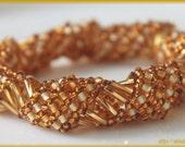 Golden  yellow Russian spiral wrap around beadwork bracelet cuff bangle seed bead handmade jewelry