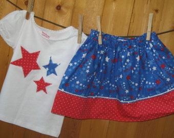 July 4th Skirt / July 4th girls Shirt / July 4th fireworks top / 4th of July Parade  / 4th of July Girls Outfit / 4th of July Girls Skirt