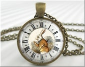 Alice In Wonderland Pendant, Fairy Tale Necklace, Clock Face Giclee The White Rabbit, Resin Pendant, Picture Jewelry, Gift Under 20 (257RB)