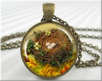 Bird Nest Pendant, Resin Charm, Spring Season Necklace, Gift For Bird Lover, Gift Under 20, Round Bronze, Birder Gift, Bird Watcher (095RB)