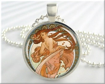 Mucha Art Necklace Pendant Charm Art Nouveau Resin Jewelry Neoclassical (185RS)