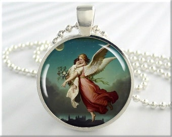 Guardian Angel Pendant, Wilhelm Von Kaulbach Art Charm, Resin Angel Necklace, Picture Jewelry, Round Silver, Spiritual Gift (205RS)