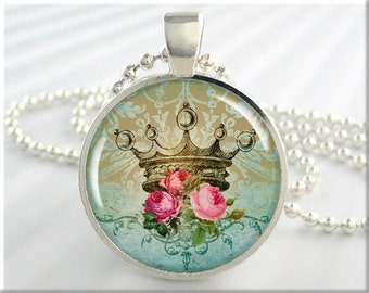 Royal Crown Pendant, Crown Art Collage Necklace, Resin Picture Jewelry, Pink Roses, Round Silver, Gift Under 20 (226RS)