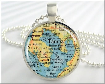 Tampa Map Pendant Charm Tampa Florida Travel Necklace Resin Picture Jewelry (228RS)