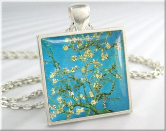 Van Gogh Pendant, Blossoming Almond Tree, Van Gogh Art Necklace, Turquoise Jewelry, Resin Charm, Art Pendant, Square Silver (123SS)