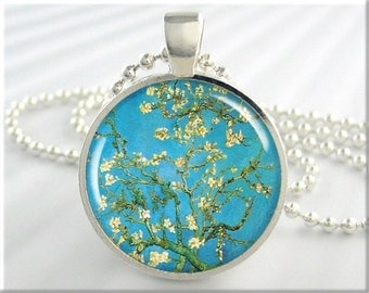 Van Gogh Almond Tree Pendant, Turquoise Jewelry, Van Gogh Blossoming Almond Art Necklace, Resin Charm, Gift Under 20, Round Silver (123RS)