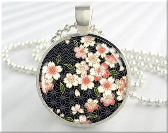 Japanese Flower Necklace, Art Pendant, Flower Blossoms Art, Yuzen Style Charm, Round Silver, Gift Under 20, Resin Charm (239RS)