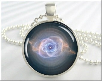 Cats Eye Nebula Pendant, Space Photo Charm, The Cat's Eye Nebula Necklace, Resin Pendant, Round Silver, Space Gift, Hubble Picture (249RS)