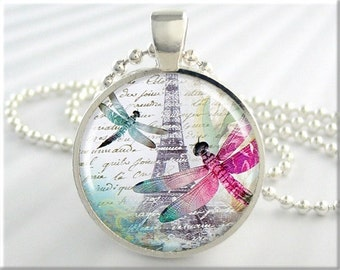 Dragonfly Art Pendant, Resin Charm, Eiffel Tower Necklace, Picture Jewelry, Round Silver, Travel Gift, Paris France (277RS)