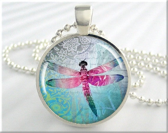 Dragonfly Art Pendant Resin Charm Dragonflies Necklace Picture Jewelry (227RS)