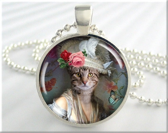Lady Cat Pendant Art Jewelry Necklace Resin High Society Kitty Picture Collage Charm (236RS)