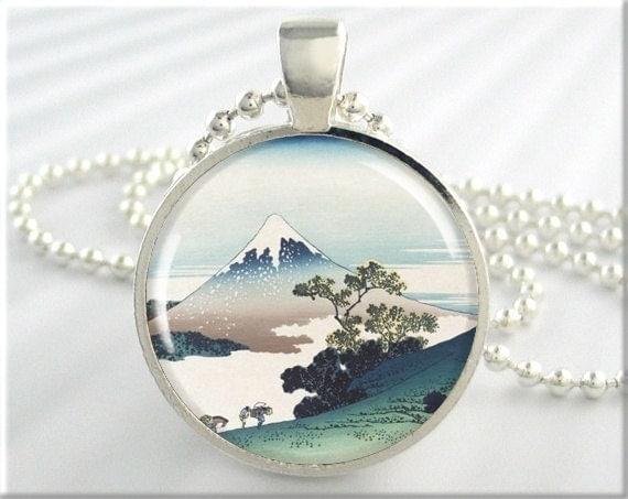 Japanese art pendant hokusai art necklace snow capped mt mozeypictures Choice Image