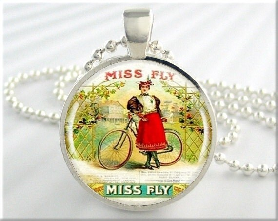 Vintage Bicycle Necklace Miss Fly Bike Jewelry Pendant Bicycle Resin Charm (096RS)
