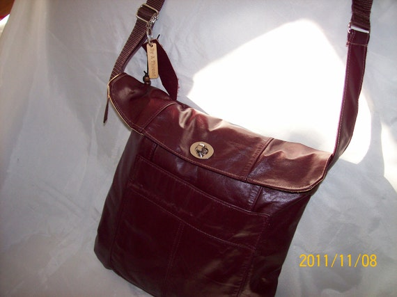 EASTER SALE Burgundy Leather Crossbody Bag Handmade Recycled Leather