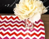 Red and Pink Chevron Tray, Melamine Tray, 10x14inches