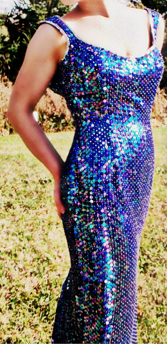Stunning NWT Vtg Couture Cobalt Blue/Purple Beaded Sequined Maxi Gown SZ 11/12