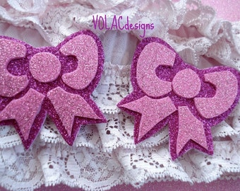 Rave wear Pink bow pasties glitter