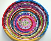 Coiled Fabric Basket Fabric Bowl Multicolored Scraps