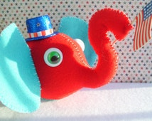 Plush Patriotic Elephant Red White and Blue Stuffed Animal Zoo Jungle Republican Independence Day Flag Ooak