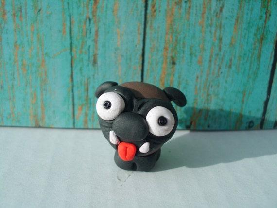Ugly Cute Pug Dog Polymer Clay Ooak Miniature Figurine Animal Pet Puppy