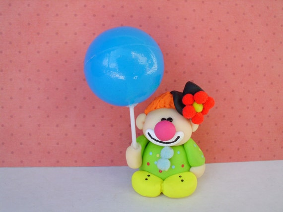 Miniature Clown Polymer Clay Circus Balloon Ooak Cute