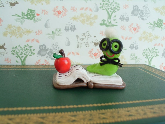 Book Worm Polymer Clay Ooak Miniature