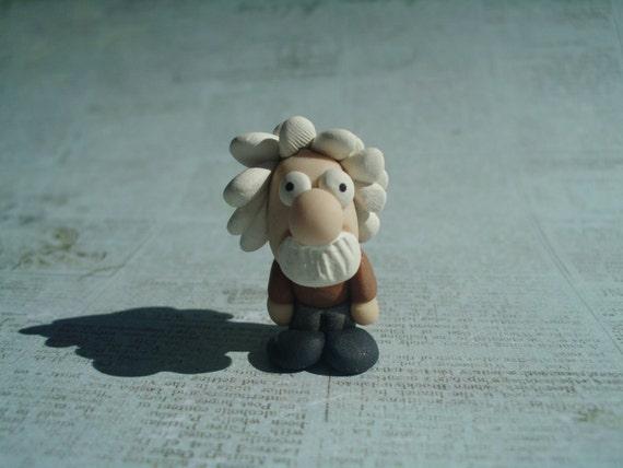 Albert Einstein Miniature OOAK Polymer Clay Doll Figurine Scientist