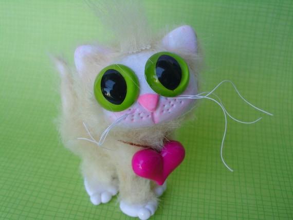 Little Scruffy Kitty Cat Polymer Clay Figurine