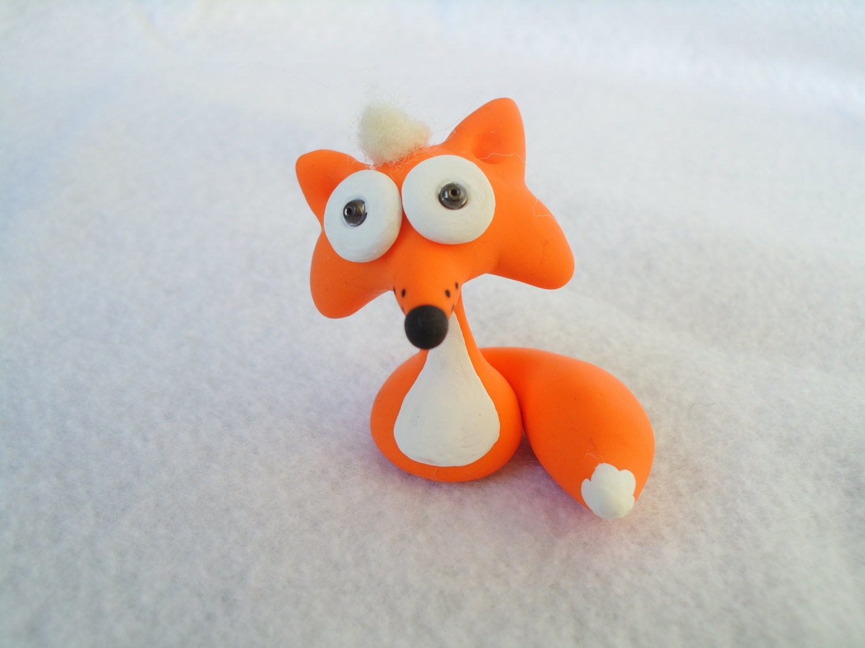 Orange Fox Polymer Clay Ooak Miniature Figurine