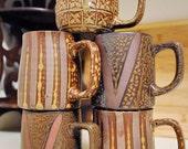 Set of Five Ceramic Vintage Mugs - 1960's