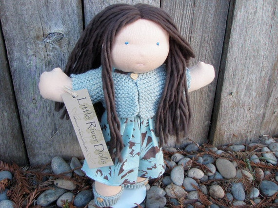 "Waldorf All Natural Wool Doll- Custom 15"" Little River Doll with Sweater and Shoes"