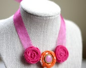 Cutie Patootie Necklace - Hot Pink and Orange with Button and Ribbon