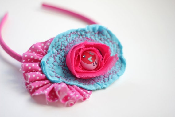 Upcycled Hot Pink Birdie Headband - Aqua Flower and Hot Pink Ruffle