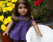 Hand knitted capri pants and top with ruffled hem for American girl doll