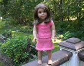 Hand knitted 2 piece pink outfit, fits American girl doll