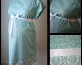 Maternity Labor and Delivery Hospital Gown -Aqua Geometric Print, Aqua Damask Trim, White Ribbon