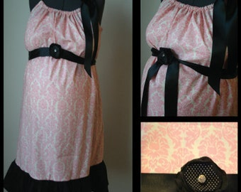 Maternity Hospital Gown -Pink Damask, Black Ruffle, Black Flower with Rhinestone button