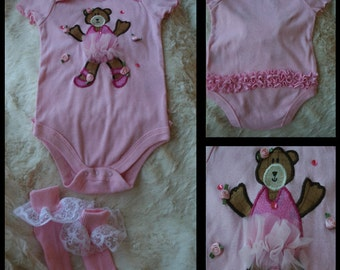 Ruffled Ballerina Bear Set-Outfit and ruffled socks