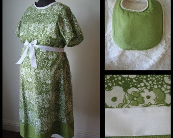 Maternity Hospital Gown - GIFT SET  Green Floral Print, Plush Baby bib (maternity labor and delivery hospital gown set)